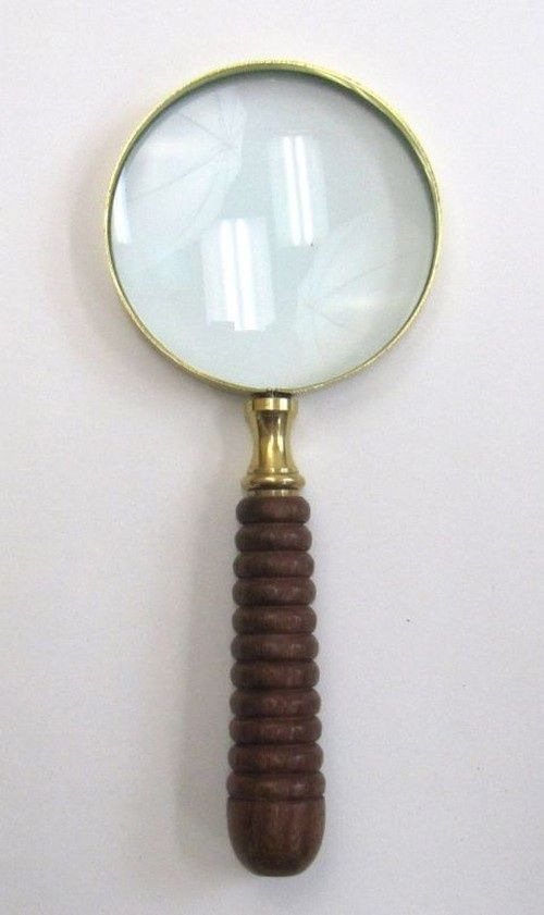 8 Brass Magnifying Glass Wooden Handle Nautical Vintage