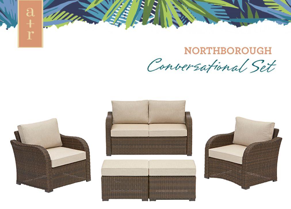 shop northborough 5 piece aluminum frame patio conversation set with rh pinterest com