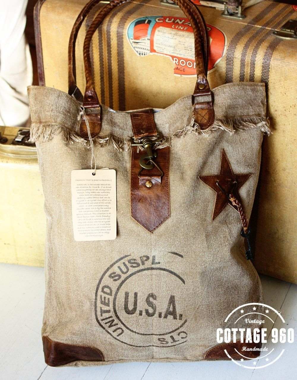 Recycled rice bag purse - Vintage Inspired Bags Made From Recycled Canvas With Leather Trim Now Available At Cottage 960