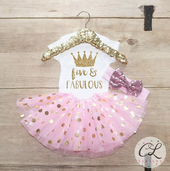 Fifth Birthday Tutu Shirt Outfit Baby Girl Clothes Five And Fabulous 5 Year Old Set 5th Princess Crown 206