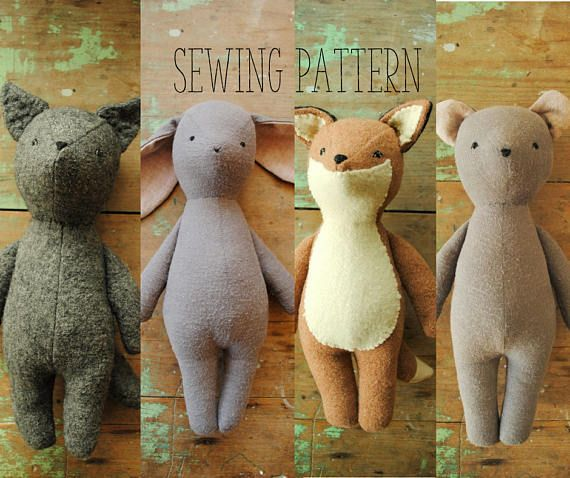 Bunny fox bear and wolf stuffed animal doll sewing patterns  soft toy PDF tutorials 10 discount  Two simple sewing pattern  tutorials for making FOUR stuffed animal dolls...