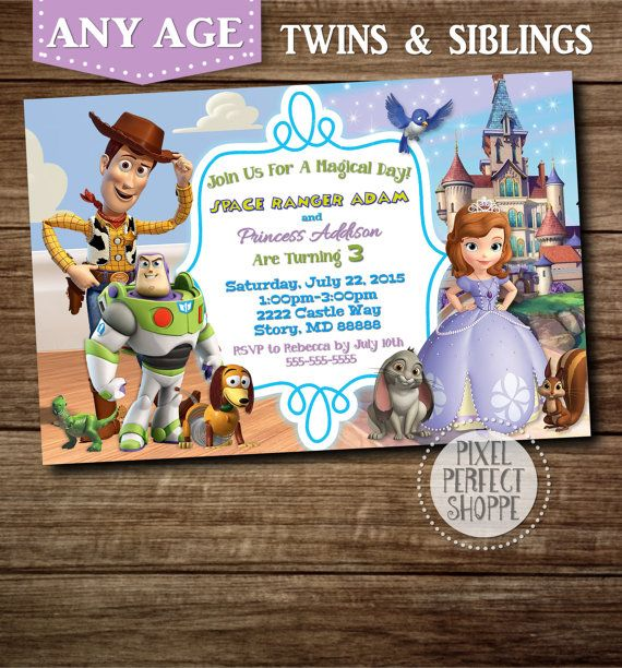 Toy story and sophia the first birthday invitation for siblings toy story and sophia the first birthday invitation for siblings twins and for those wanting stopboris Image collections