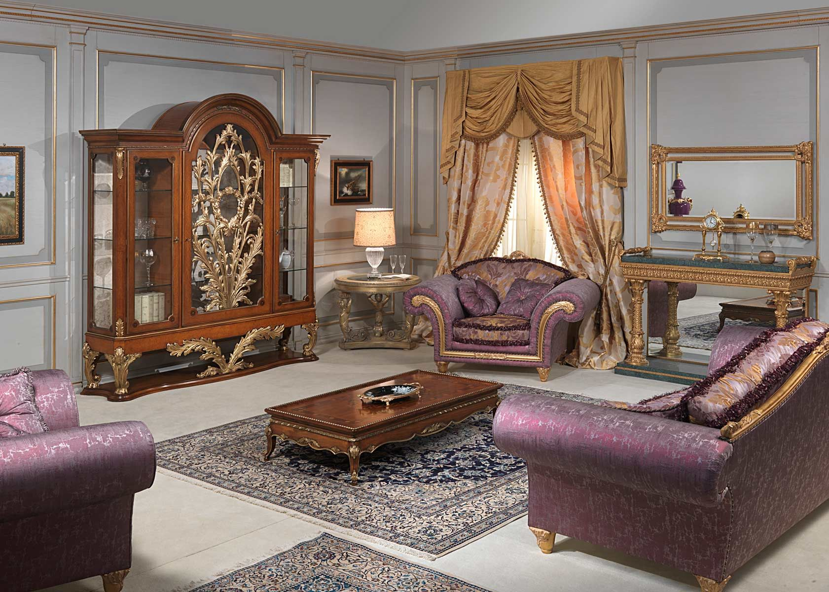 living room showcase designs%0A Living room with glass showcase in myrtle burl in Louis XVI style  carvings  executed by