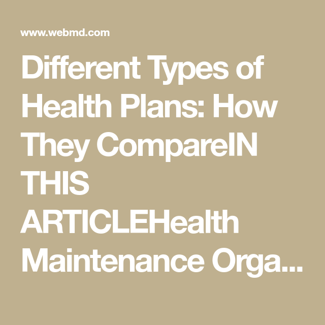 Types Of Health Plans How They Compare Health Insurance Cost