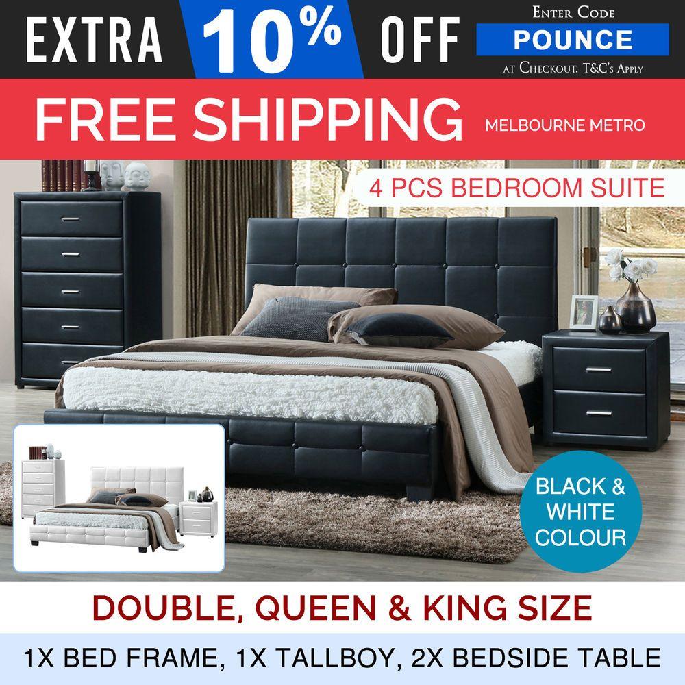 bedroom suite bed frame king queen double bed bedside tallboy 4pcs rh pinterest com