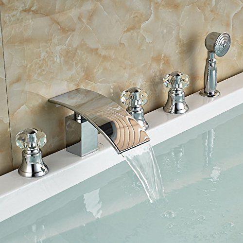 Senlesen Crystal Style Waterfall Brass Bathroom Bath Tub Faucet