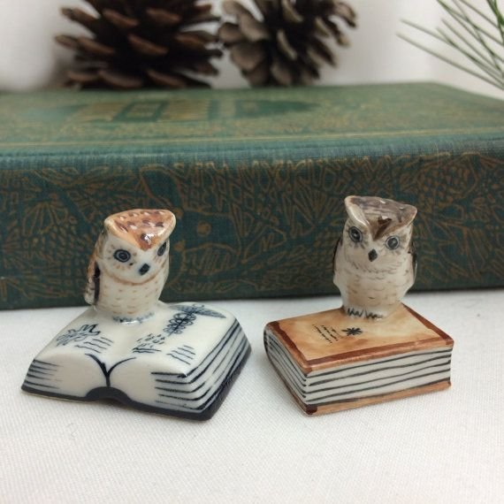German Miniature Owls, Miniature Book Owls, Tiny Owls, Owl Lover Gift, Book Lover Gift, Bibliophile Gift, Bone China Miniatures, Little Owls