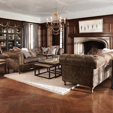 Arhaus Wes 109 Tufted Leather Sofa In Bronco Whiskey