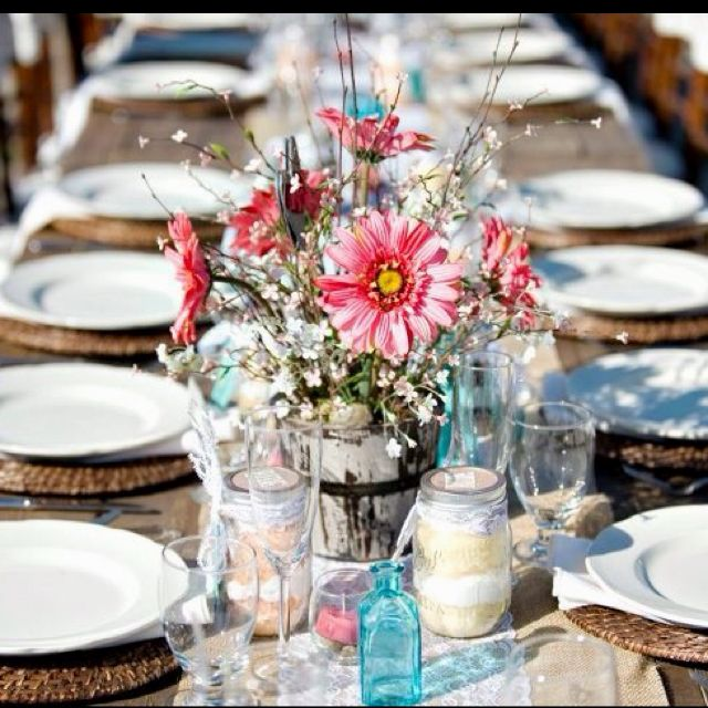 Teal Wedding Ideas For Reception: Wedding Reception, Pink And Teal, Mason Jars, Burlap, Lace