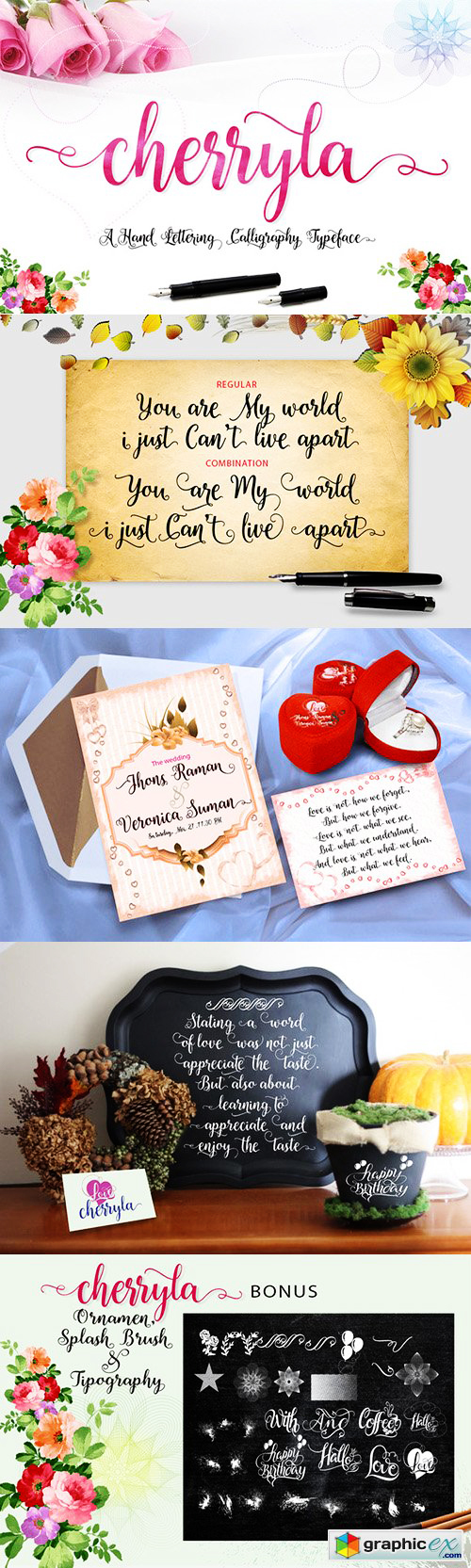 cursive fonts for wedding cards%0A  u    Cherryla Font u     by graphicex       registration required