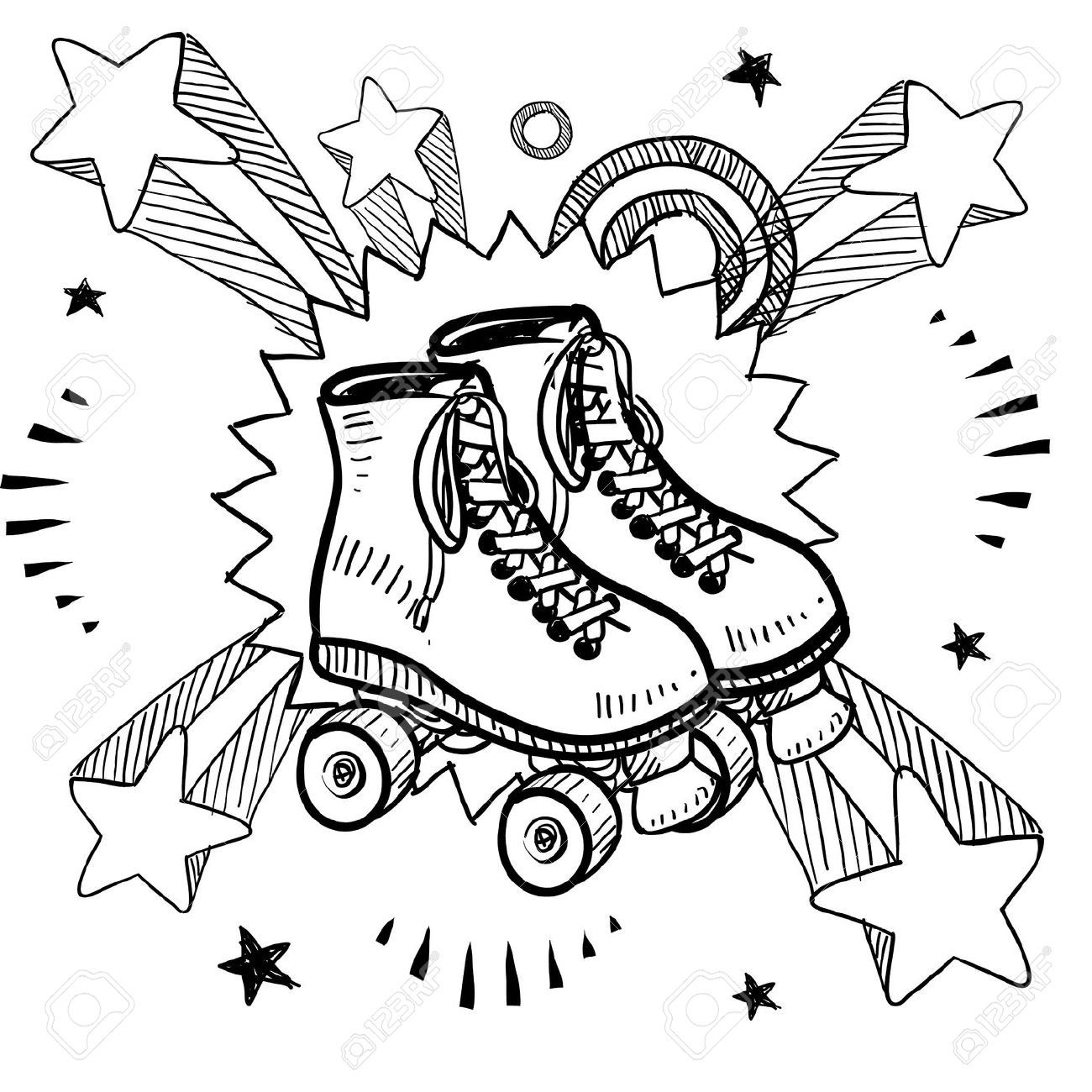 Zebra roller skates - Vector Of Doodle Style Sketch Of Rollerskates On Pop Explosion Background In Or Style In Vector Illustration