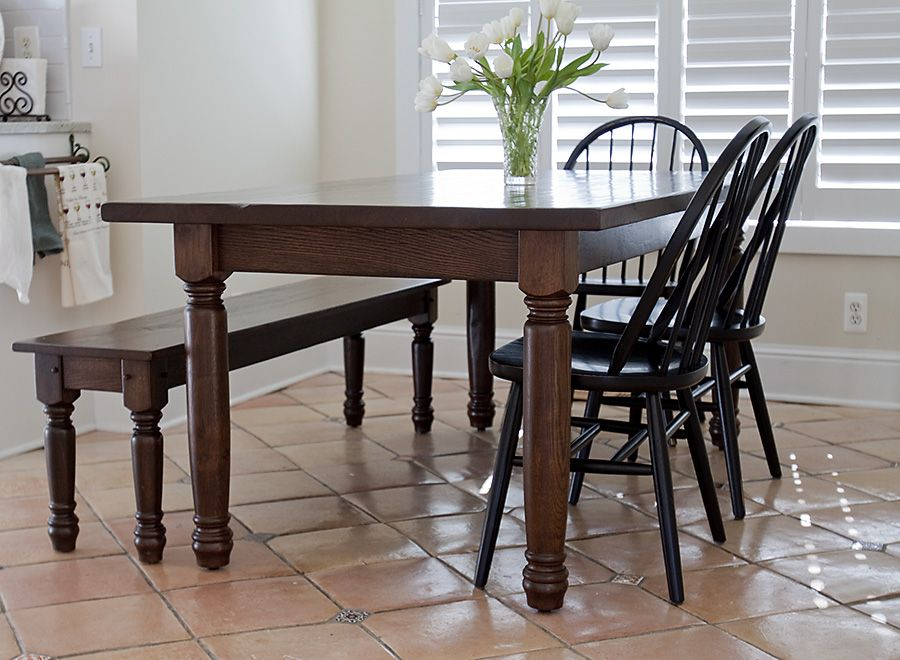 Antique horse country oak dining table with