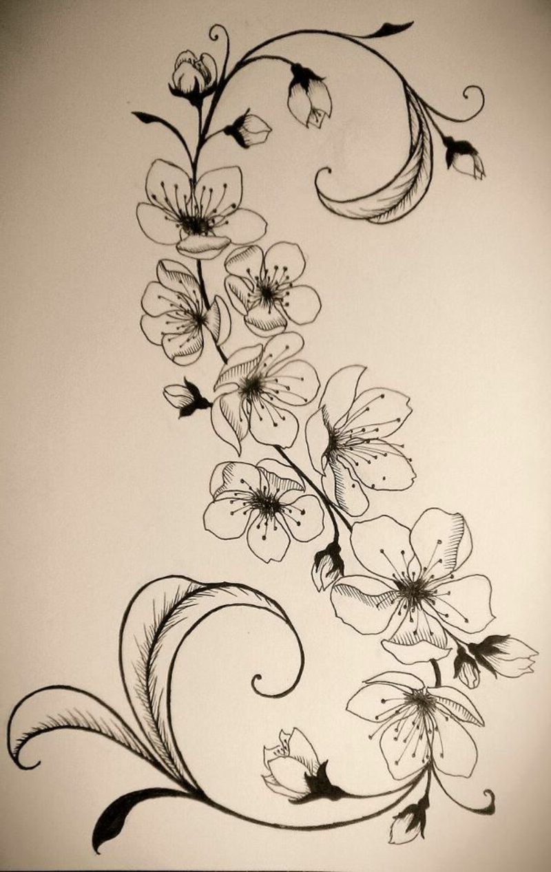 TattoovorlageBlumenrankeninteressanterLook  Tattoos