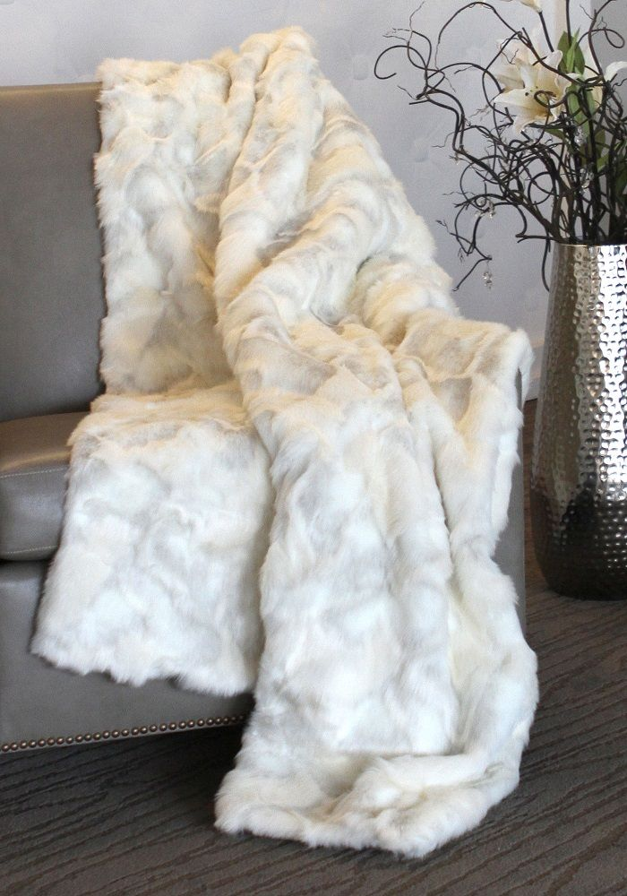 limited production design luxurious couture white rabbit fur throw 86 x 60 inches - Decorative Throws
