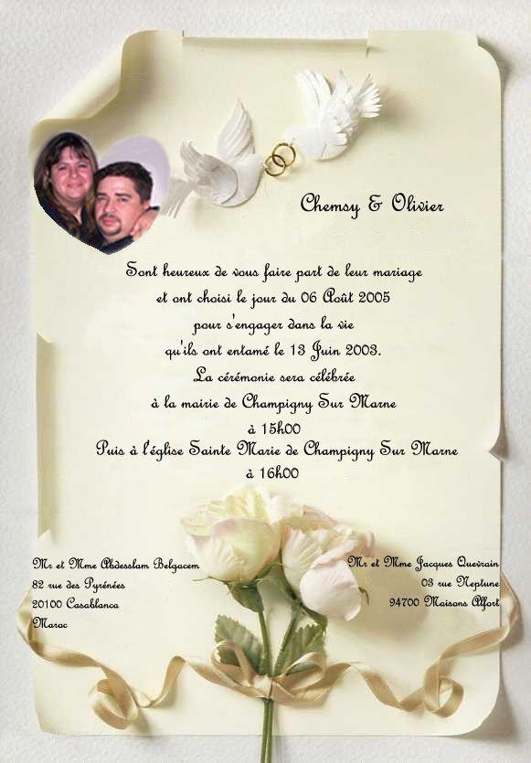 exemple de carte dinvitation de mariage