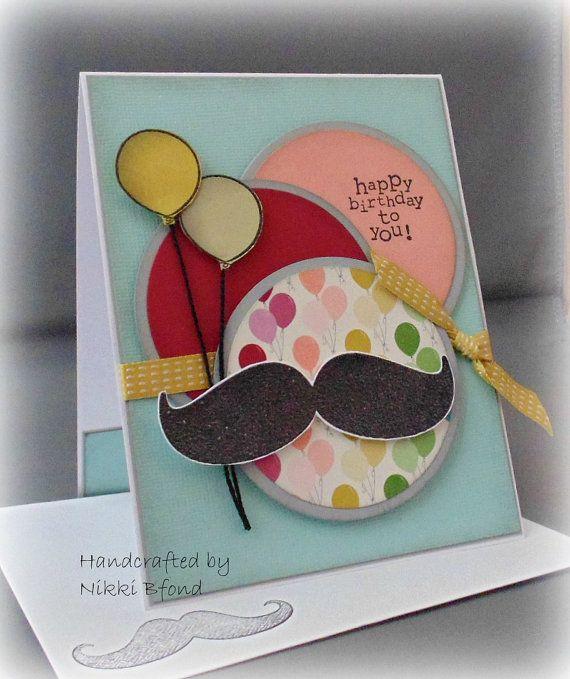 Mustache Birthday Handmade Birthday Card My Creations