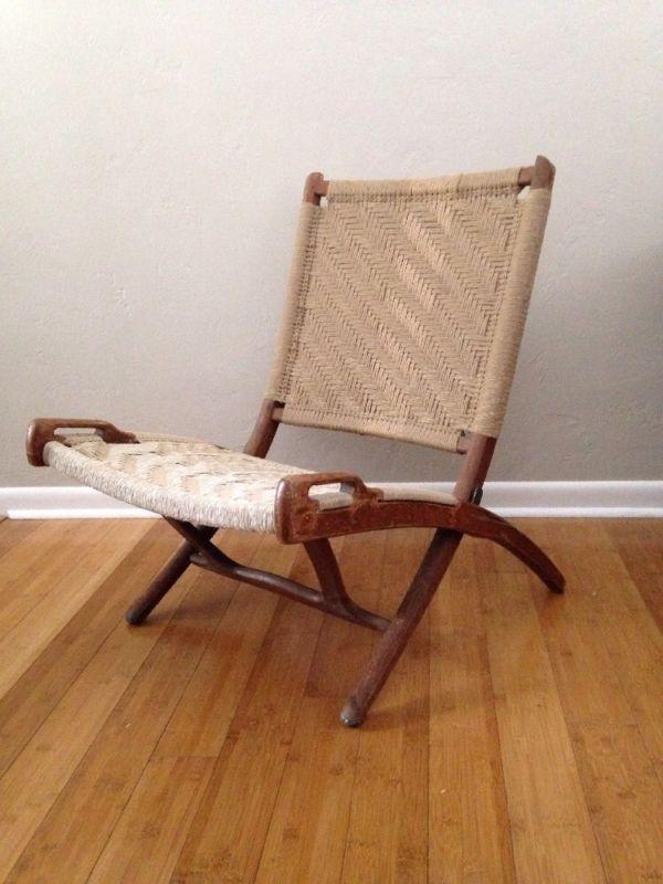 danish modern folding rope chair vintage hans wegner style mid rh pinterest com