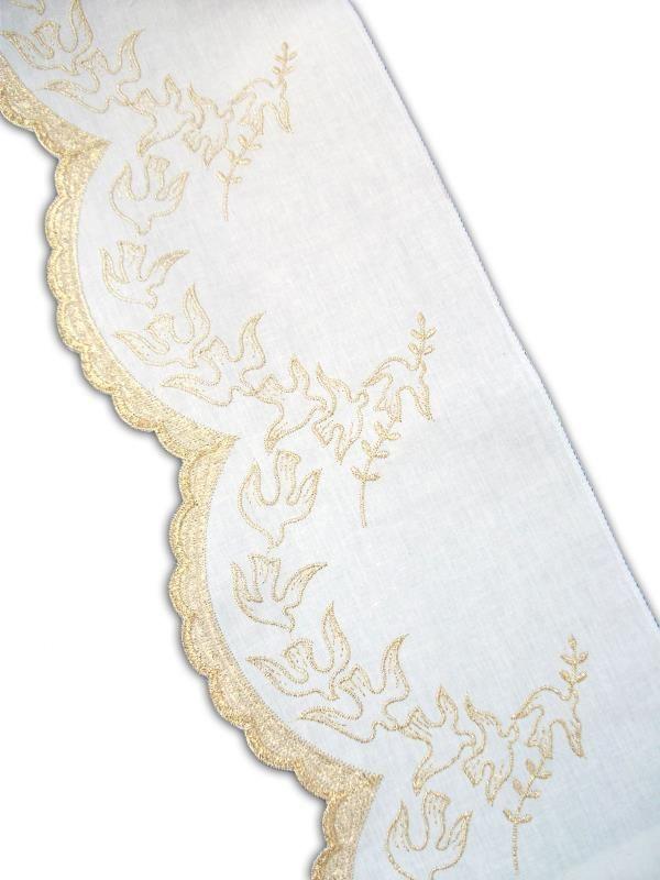 Pizzo bianco e oro h cm 20 bordi semprini arredi sacri for Arredi religiosi