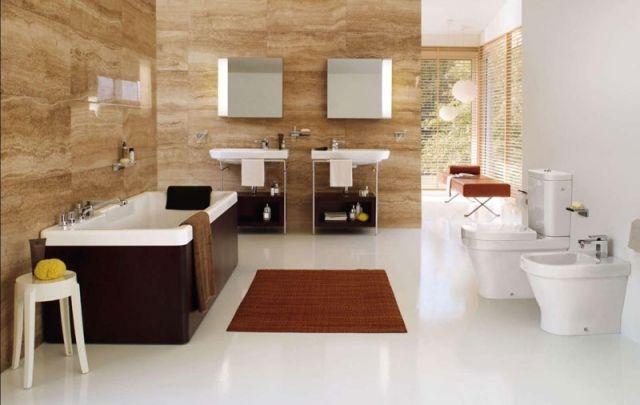 Großformatige Fliesen Naturstein Look Badezimmer Einrichtungsideen