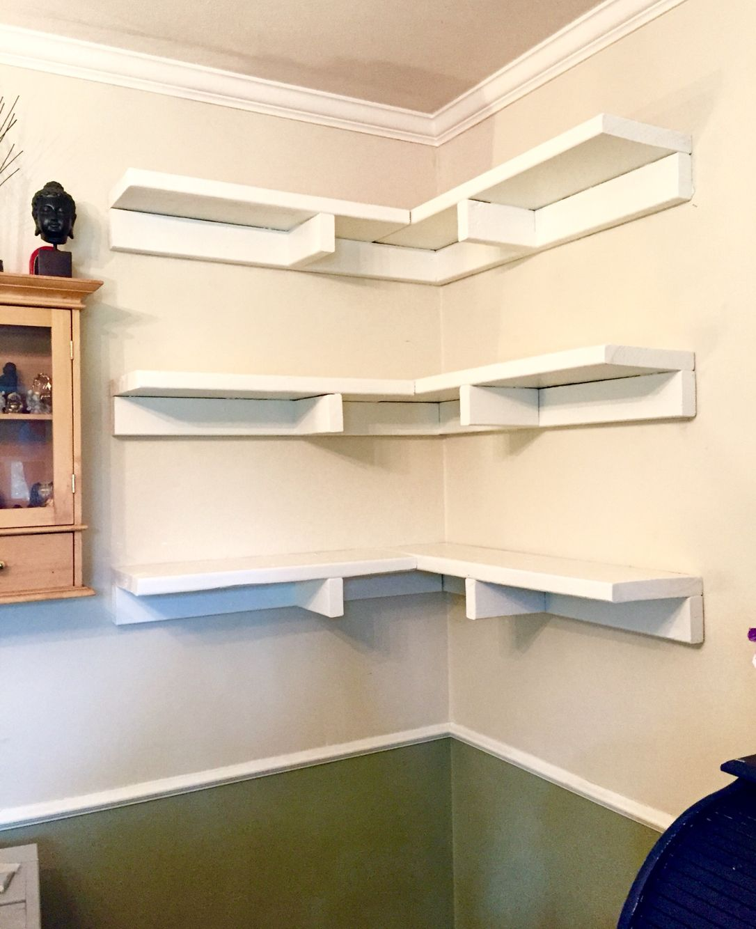 Hanging corner shelves. I built these using 2x8 for the shelf ...