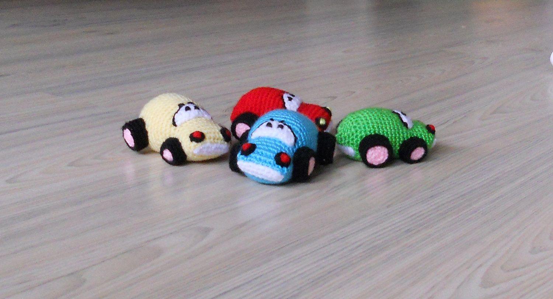 -Crochet CAR Baby toy CAR crochet toy/ redgreen by jelenateperik