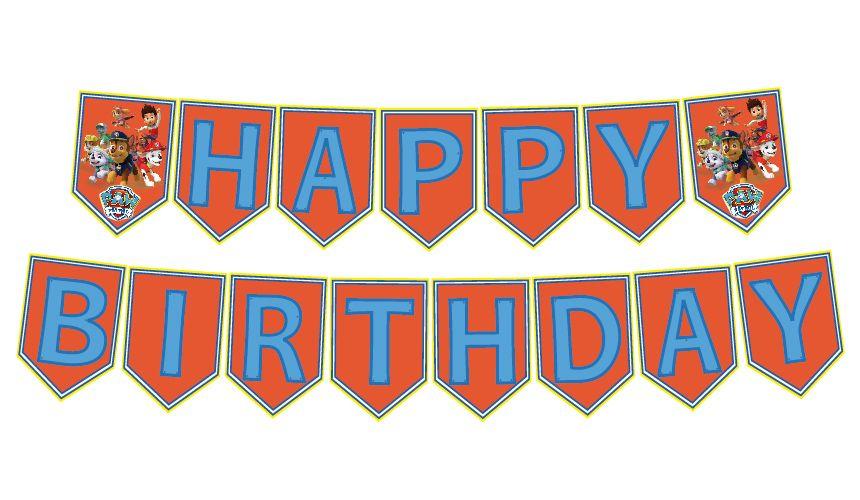 Paw Patrol Happy Birthday Printable Banner Happy birthday