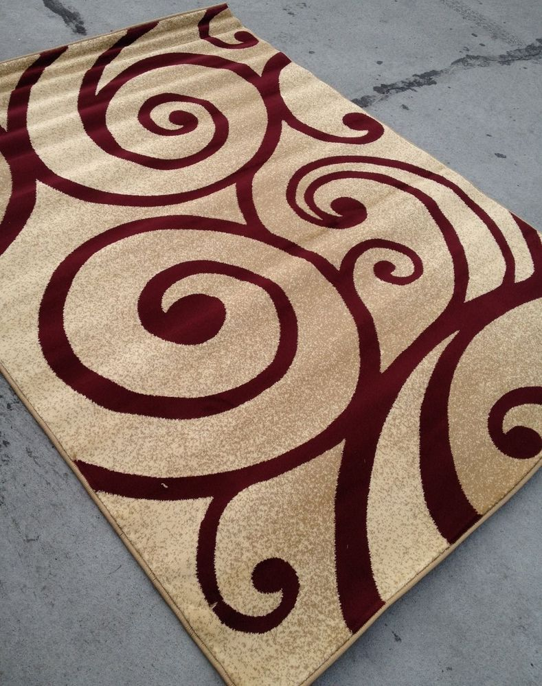 Captivating Modern Style Contemporary Rug 8x10 8 X 10 Carpet Rugs Red Beige Swirl  Burgundy