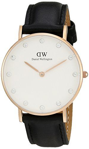 Daniel Wellington Womens 0951DW Classy Sheffield Stainless Steel Watch With Black Leather Band