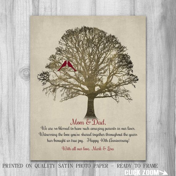 40th Anniversary Parents Gift Mom Dad 40 Years Family Tree Personalize Golden Wedding Anniversary Gifts Anniversary Gifts For Parents Wedding Anniversary Gifts