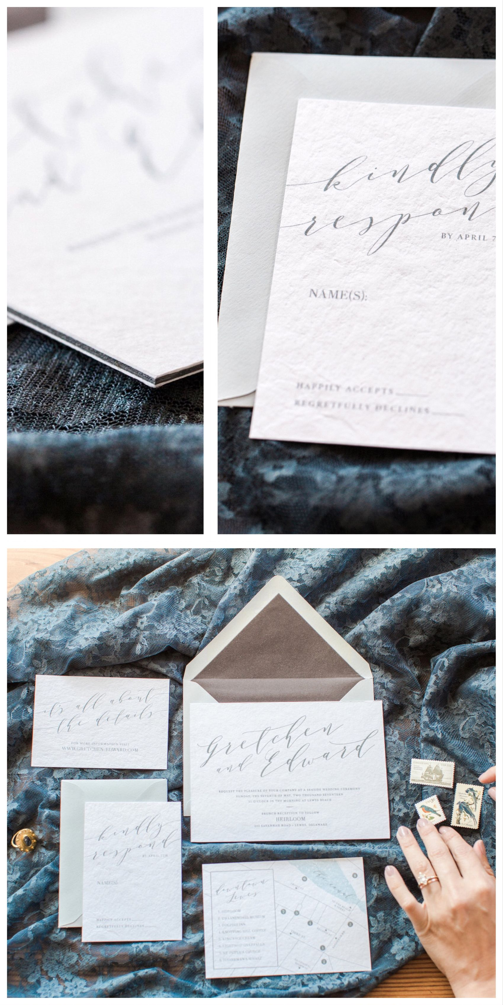 what information do i need on wedding invitations%0A Handmade paper wedding invitation with velvet envelope liner by Penn  u      Paperie  Ultra Thick Cotton