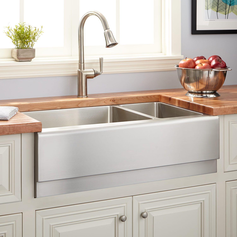 33 optimum 70 30 offset double bowl stainless steel farmhouse sink rh pinterest nz