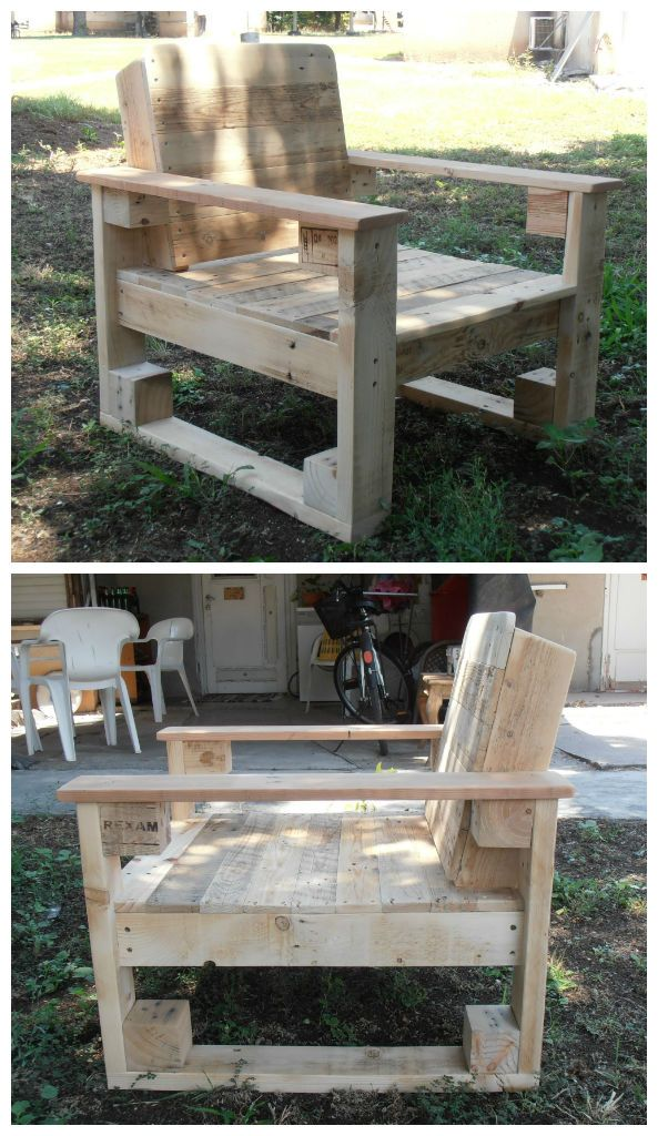 Outdoor garden chair from two pallets, for the most comfortable and relaxing sitting.    More information at Pavel Spirin - Artistic Woodwork website ! Idea sent by pavel spirin ! #Chair, #Pallet, #Recycled