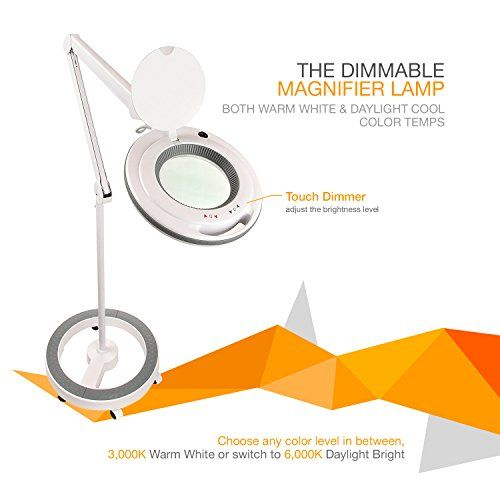 Brightech Lightview Pro Dimmable Led Magnifier Floor Lamp With 6 Wheel Rolling Base Built