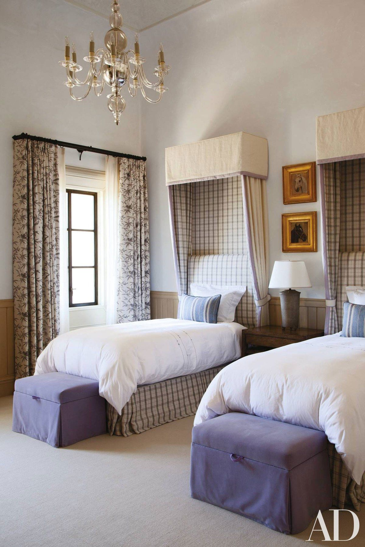 The Classic Cloth plaid on the beds