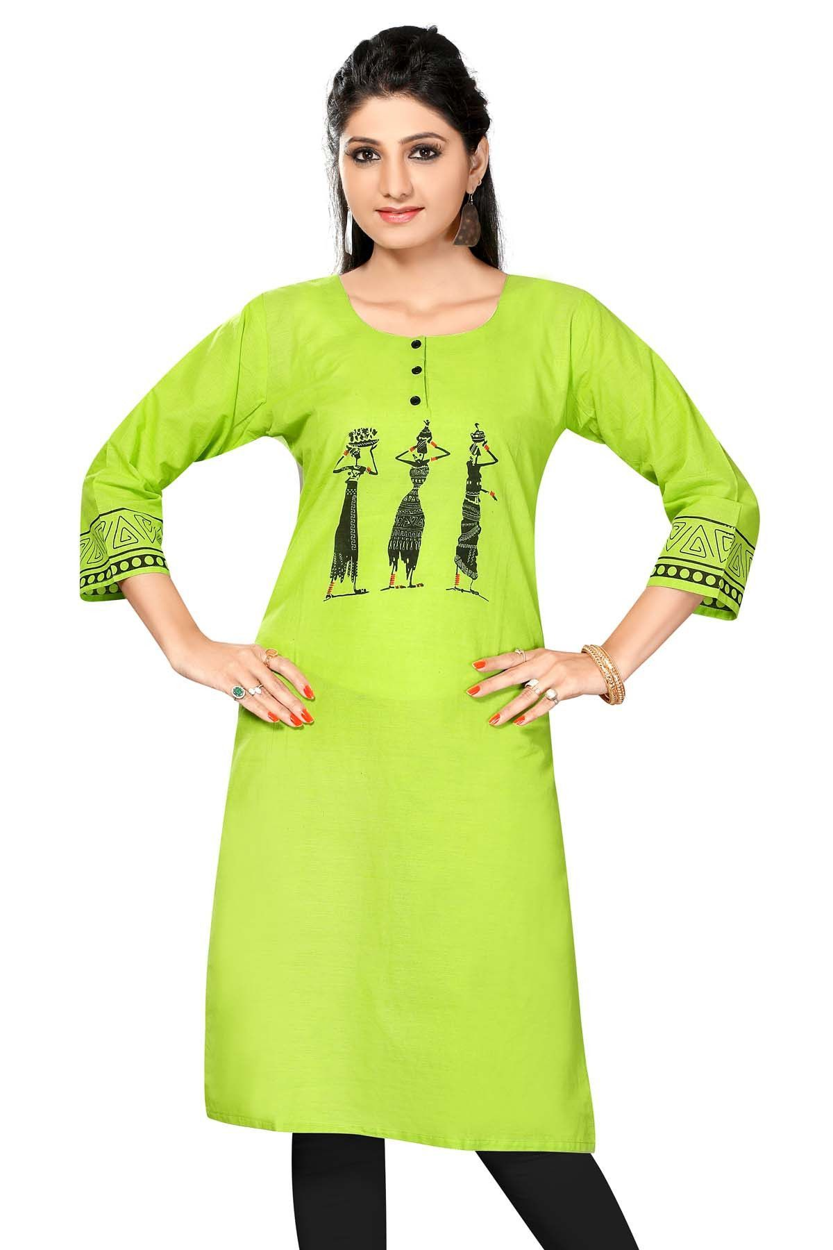 Neon green designer cotton kurti products pinterest kurti