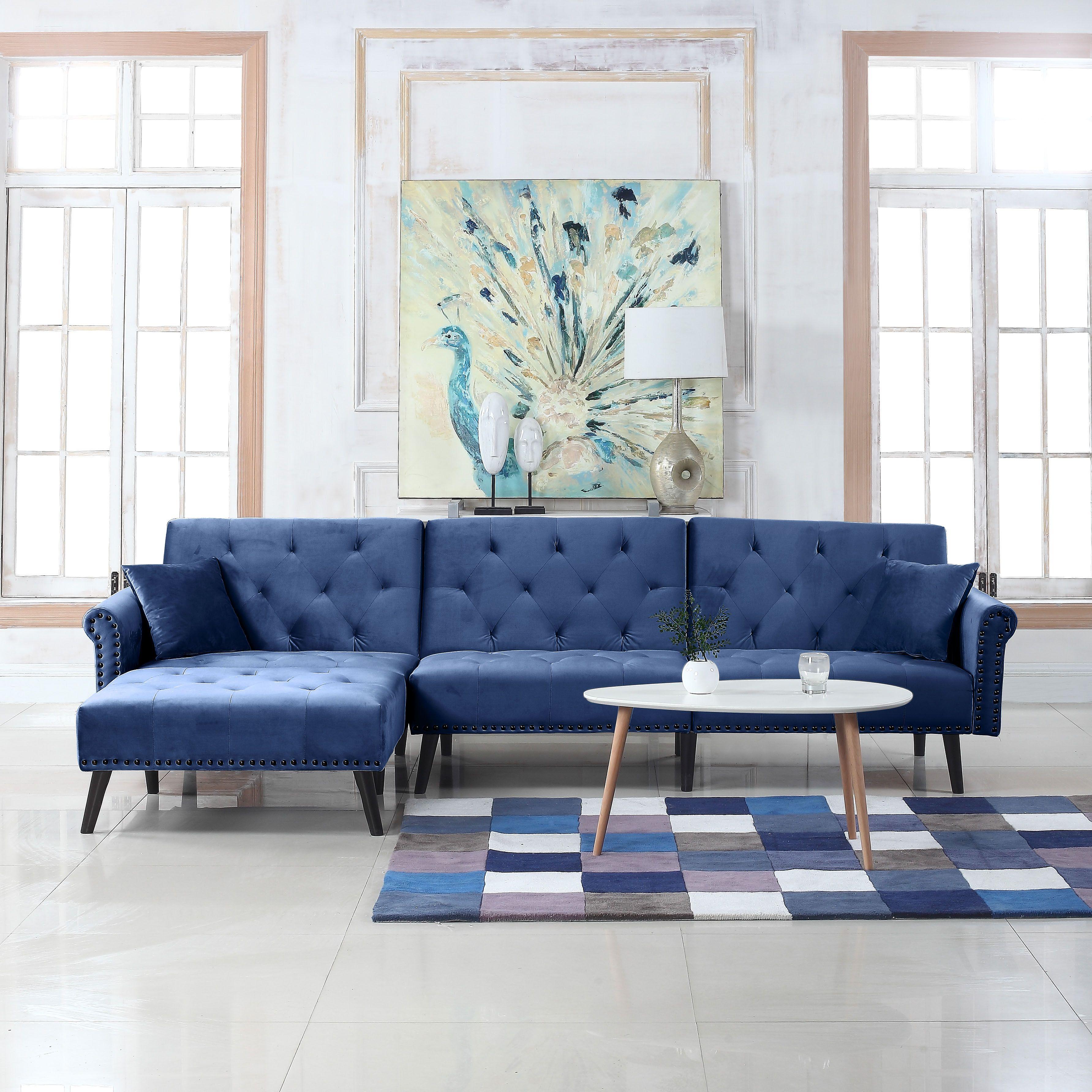 modern style velvet sleeper futon sofa living room l shape rh pinterest com