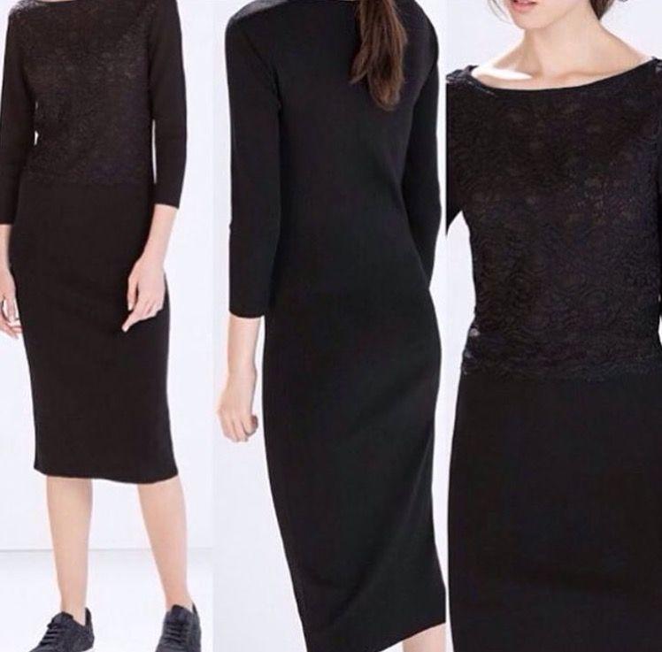 On Kismi Dantel Detayli Zara Marka Triko Elbise Fiyat 79 90 Tl Whatsapp 05326421115 05326421115 Butik Bakirkoy Kadin Alisve Moda Kalem Elbise Elbise