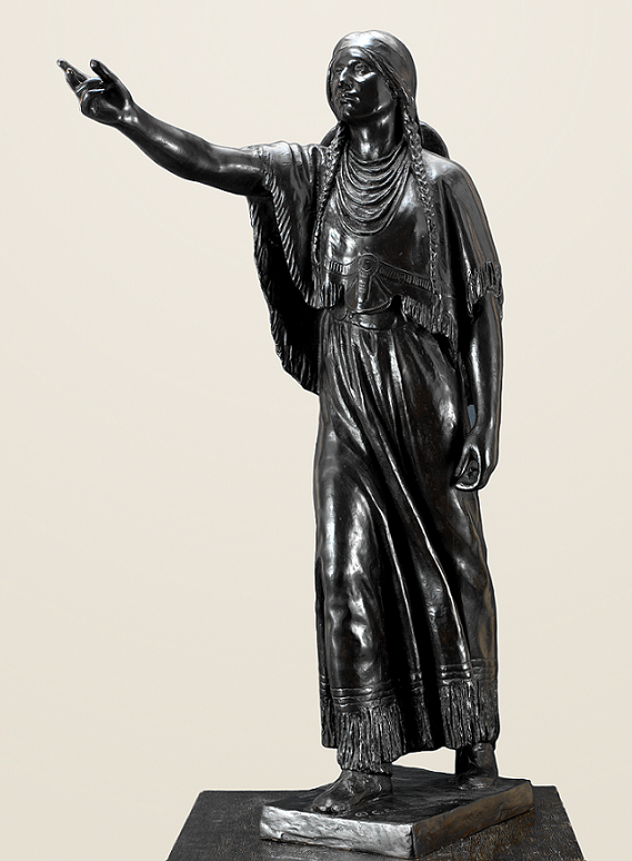 """""""Sacajawea"""" by Cyrus Dallin. 38"""" Bronze. Now available through our fine art resellers. For more about the piece, click through to the description or contact us for more info."""