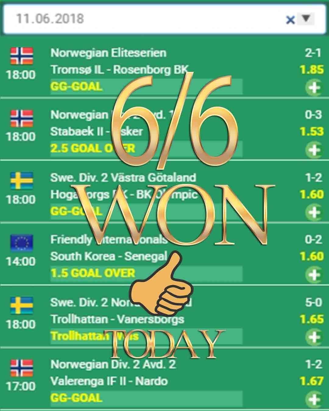 Vip betting odds 6/6 WON Bets analysis, Betsson