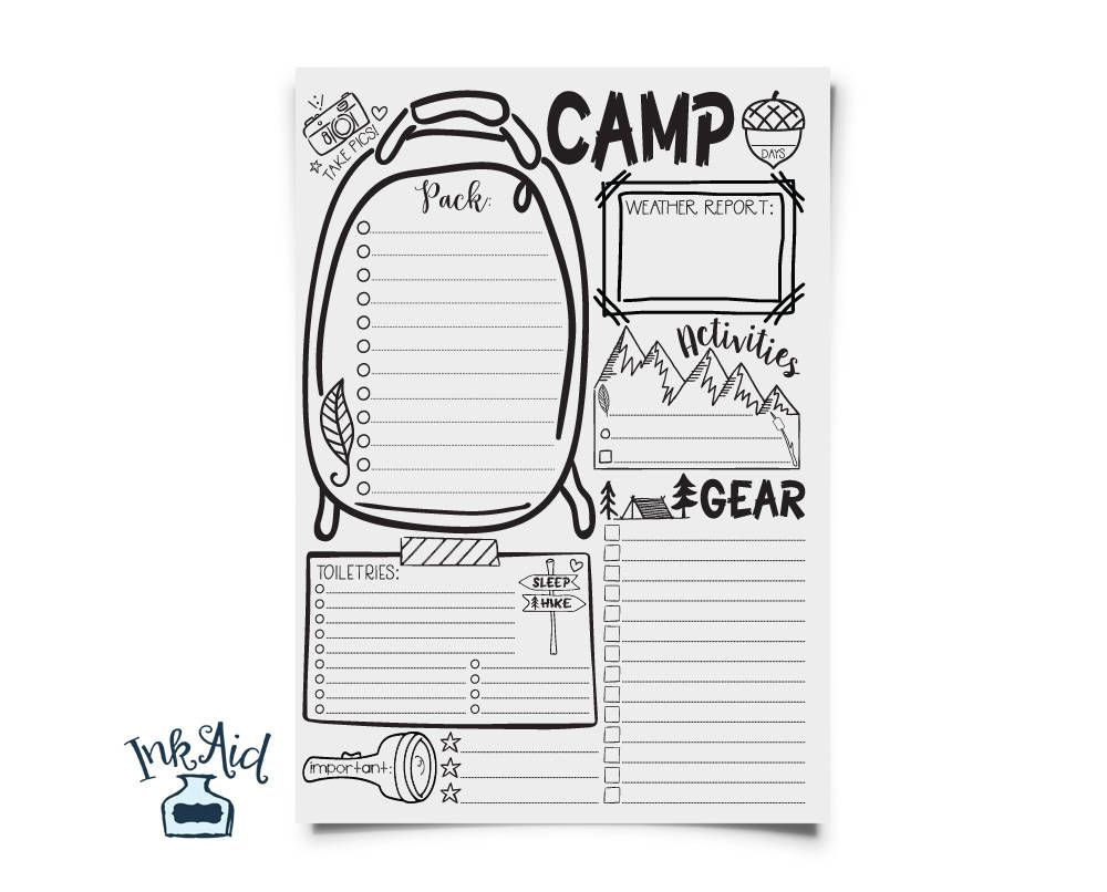 Doodle CAMP Out Packing List | PRINTABLE Full Page | Edit ...