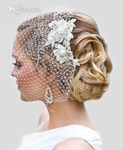 Attractive Vintage White Net Appliques Pearls Beaded Birdcage Veil Headpiece Head Veil Wedding Bridal Accessories Hair Accessories For The Bride Hair Accessorie Bride Hair Accessories Bride Hairstyles Wedding Hair Accessories Vintage