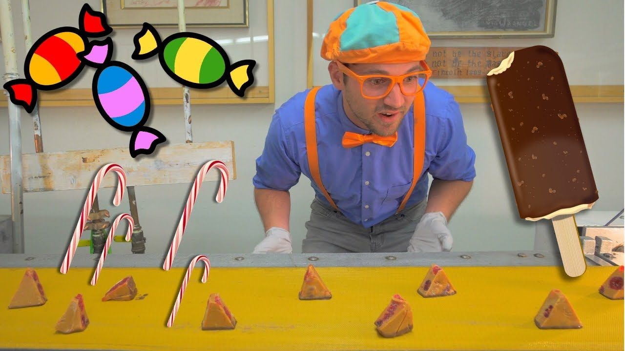 Blippi Tours the Chocolate Factory Learn about Food for