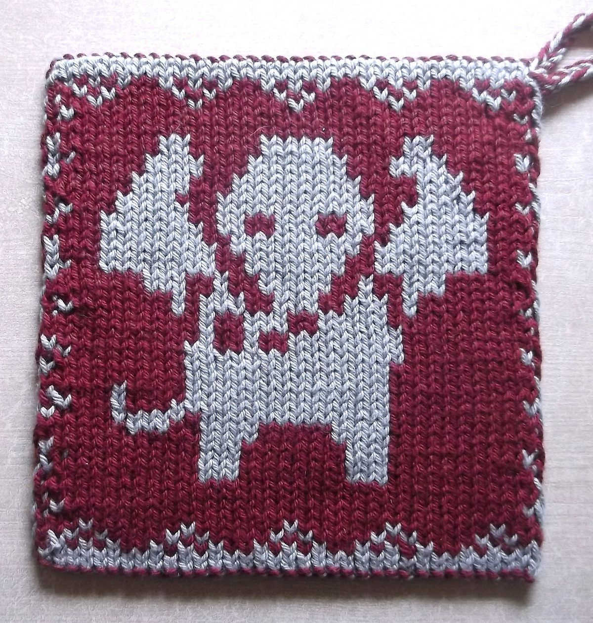 Free Knitting Pattern for Elephant Pot Holder - Double knit ...