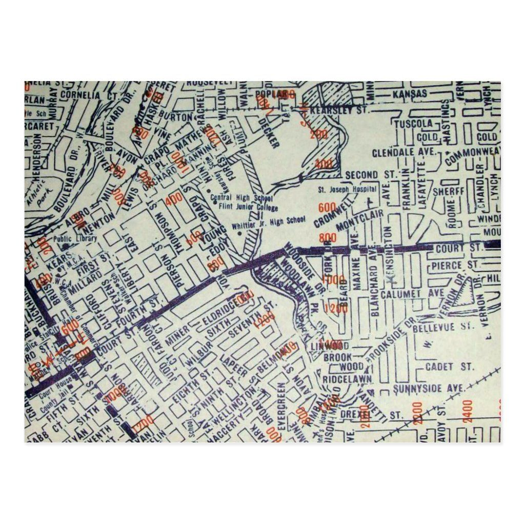 Flint MI Vintage Map Postcard