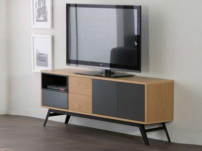 Meuble TV en bois 3 portes, 1 tiroir et 1 niche Longueur 150 cm