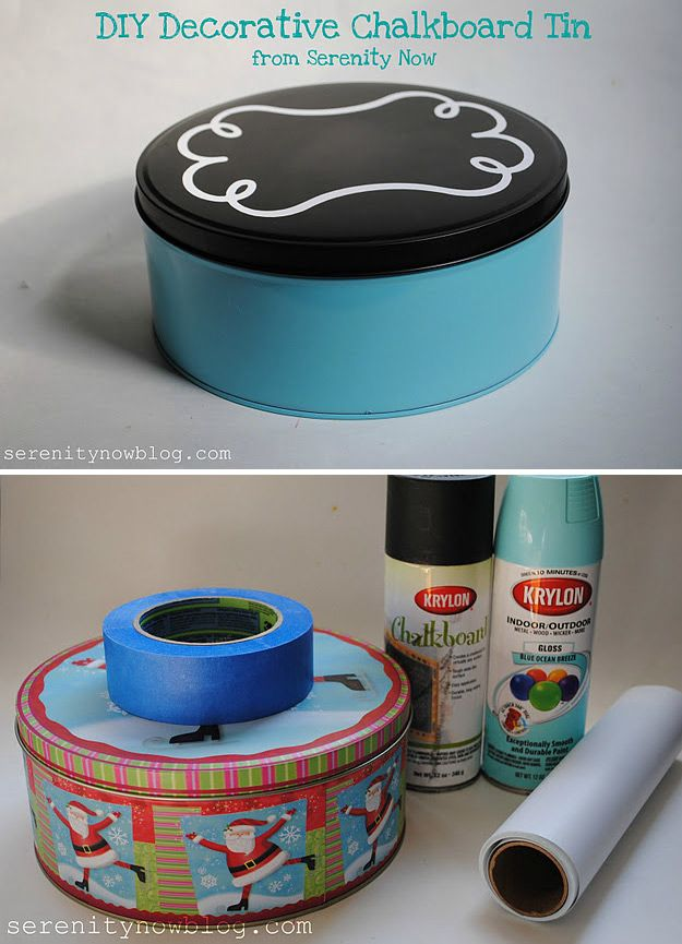 Chalkboard cookie tin serenity now for dogs krylon for Can you recycle cookie tins