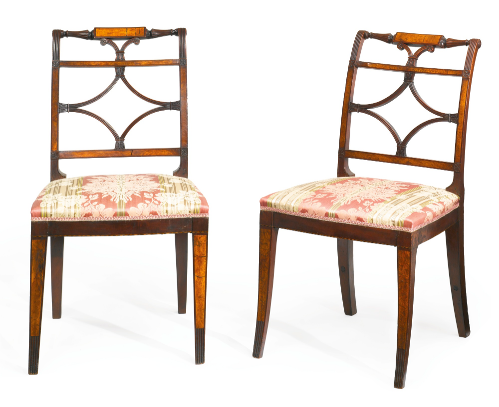 C1804 10 An Important Pair Of Federal Flame Birch Veneered And Carved Mahogany Sabre Leg Side Chairs Attributed To Thomas Side Chairs American Furniture Chair