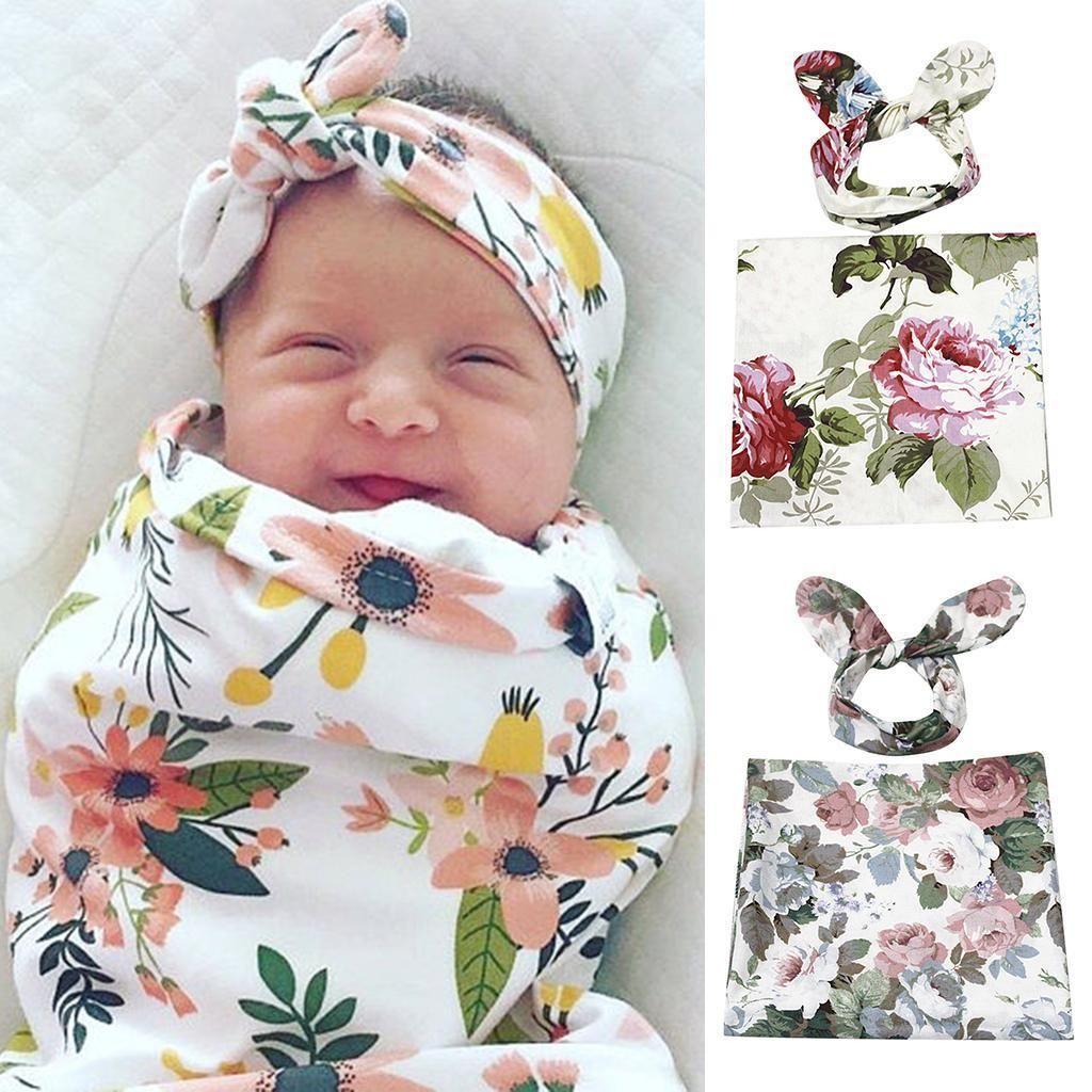 Swaddling Sleeping Bag Receiving Blankets and Headbands Set for Newborn Baby