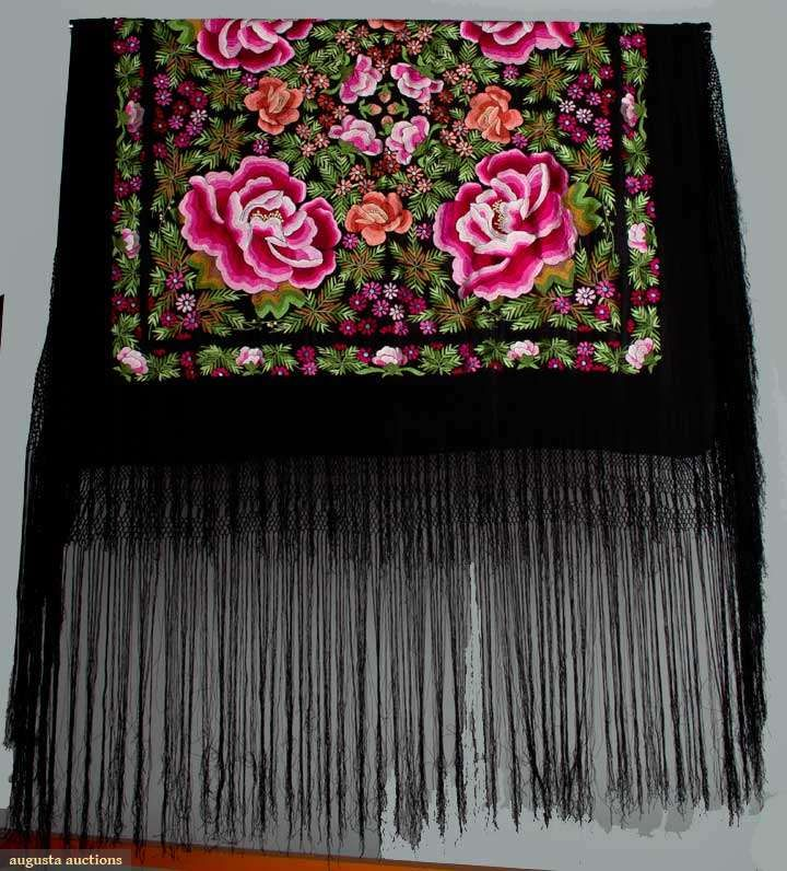 Black silk embroidered shawl, chantilly lace, c. 1900