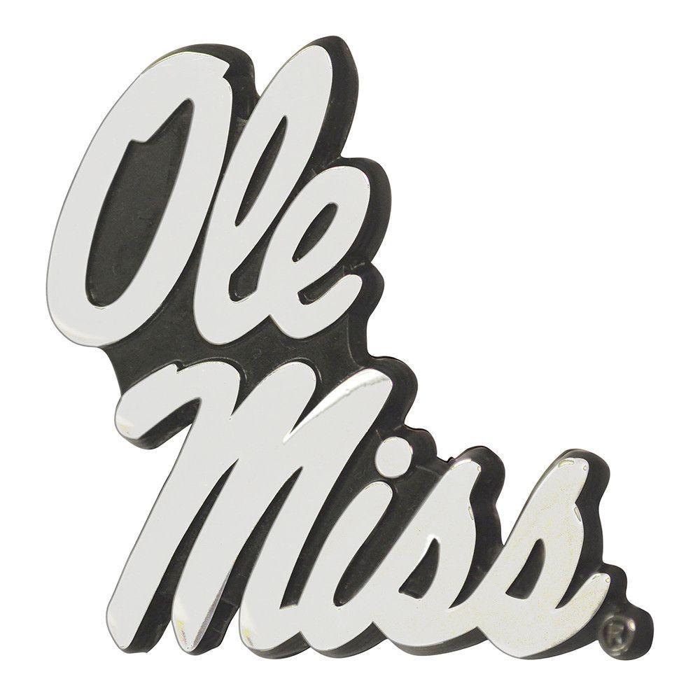 Mississippi Rebels NCAA Chrome Car Emblem 2.3in x 3.7in